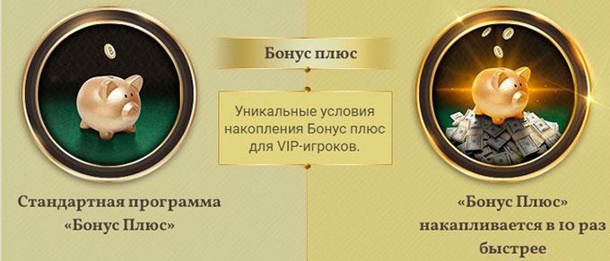 Бонус плюс для VIP игрока